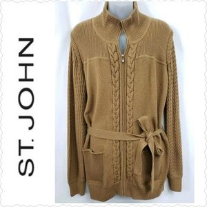 St. John Yellow Label Zip Cardigan Sweater Size XL